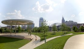 Vista cênico do parque de Cumberland em Nashville do centro, TN fotos de stock