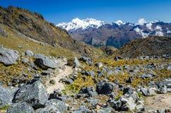 Vista cênico durante o passeio na montanha de Salkantay Imagem de Stock Royalty Free
