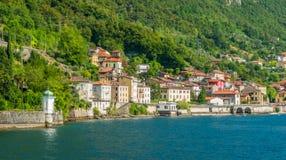 Vista cênico na estrada de Fiumelatte a Varenna, lago Como Lombardy, Italy fotografia de stock