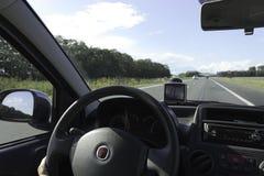 Vista In-car dell'autostrada senza pedaggio Immagini Stock