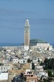 Vista Casablanca Marocco di paesaggio urbano della moschea del Hassan II Fotografie Stock Libere da Diritti