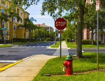 Vista Cay Universal boulevard Orlando Florida Street. Street view with stop sign and fire hydrant. Apartments Royalty Free Stock Image
