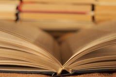 Vista centrale del libro aperto contro fotografia stock