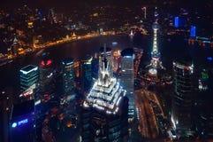 Vista centrale di area di Pudong dal centro finanziario del mondo di Shanghai fotografia stock libera da diritti