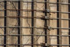 Vista cercana del metal que ata con correa los anillos alrededor de un viejo silo concreto, vides foto de archivo