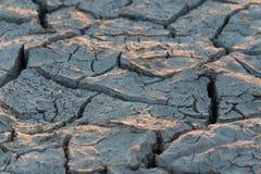Vista cercana del suelo extremadamente seco con las grietas Fotografía de archivo libre de regalías