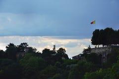 Vista a Città Vecchia Citta Alta di Bergamo da San Vigilio Hill Bergamo Fotografia Stock