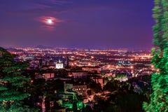 Vista a Città Vecchia Citta Alta di Bergamo da San Vigilio Hill Immagini Stock