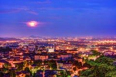 Vista a Città Vecchia Citta Alta di Bergamo da San Vigilio Hill Immagine Stock Libera da Diritti
