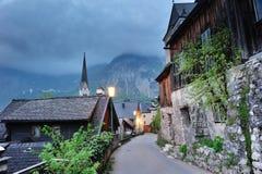 Vista clásica de la ciudad famosa de Hallstatt Fotos de archivo