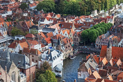 Vista clássica de Bruges fotos de stock