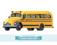 Vista classica della facciata frontale dello scuolabus Immagine Stock