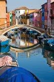 Vista colorida de Burano Foto de archivo