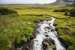 Vista colorida del barranco verde con cala pura del agua fotos de archivo