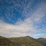 Vista com o folliage da queda do Mt Washington, New Hampshire, EUA fotografia de stock