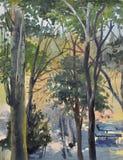 Vista com uma árvore de poplar ilustração stock