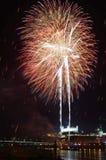 Vista con i fuochi d'artificio sul fiume di Danubio Immagine Stock