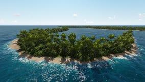 Vista costera aérea de la isla tropical en el océano Foto de archivo libre de regalías
