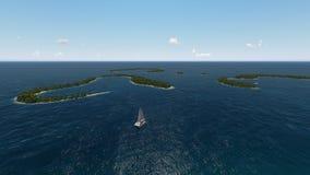 Vista costiera aerea di sotto isole tropicali in mare Immagini Stock Libere da Diritti