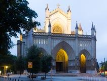 Vista crepuscolare della cattedrale di Mary Immaculate Vitoria Fotografia Stock Libera da Diritti