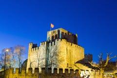 Vista crepuscolare di Anadolu Hisari, castello anatolico, vicino all'insenatura di Goksu a Costantinopoli Fotografie Stock Libere da Diritti