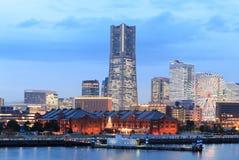 Vista crepuscular de la bahía de Yokohama Foto de archivo