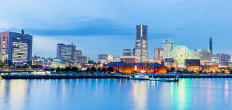 Vista crepuscular de Yokohama en Japón Fotos de archivo libres de regalías