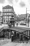 Vista d'annata del centro di Oporto, Portogallo Fotografie Stock Libere da Diritti
