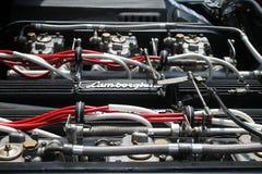 Vista d'annata del vano motore dell'automobile sportiva Fotografie Stock Libere da Diritti