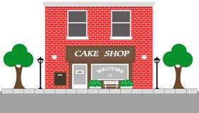 Vista d'annata della via con il negozio del dolce Immagini Stock Libere da Diritti