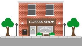 Vista d'annata della via con la caffetteria Immagini Stock Libere da Diritti