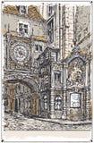 Vista d'annata della via del Gros Horloge, Rouen Immagini Stock