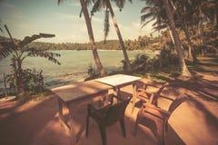 Vista d'annata di stile della tavola sulla spiaggia dell'oceano con i cocchi intorno Paesaggio tropicale alla località di soggior Fotografia Stock Libera da Diritti