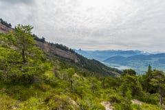 Vista da área do corrimento perto de Goldau no lago Lauerz e no al suíço Imagens de Stock