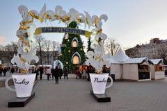 Vista da árvore de Natal em Vilnius Imagem de Stock