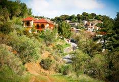 Vista da aldeia da montanha, Baltessiniko no Arcadia, Peloponnese, foto de stock royalty free