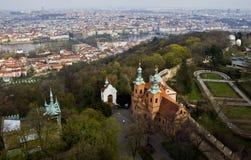 Vista da altura da torre de Petrin, Praga Foto de Stock Royalty Free