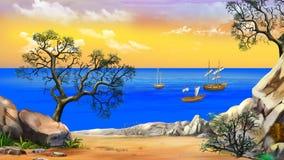 Vista da baía com os veleiros contra o céu amarelo no alvorecer ilustração royalty free