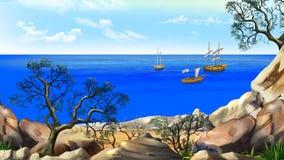 Vista da baía com veleiros em um dia de verão ilustração stock