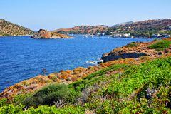 Vista da baía de Bodrum Gumusluk Fotos de Stock Royalty Free