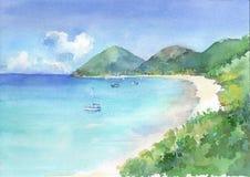 A vista da baía do paraíso com turquesa considera a água e o Sandy Beach branco Ilustração tirada mão da aquarela ilustração stock