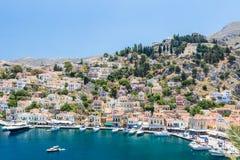Vista da baía na ilha de Symi, Grécia Imagens de Stock Royalty Free