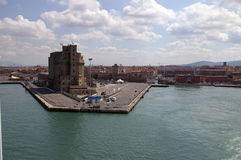 Vista da balsa a Livorno fotos de stock royalty free