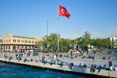Vista da bandeira turca grande Fotografia de Stock