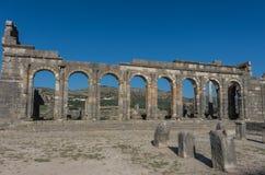 Vista da basílica, na cidade romana Volubilis Imagem de Stock Royalty Free