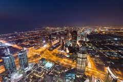 Vista da Burj Khalifa, nel Dubai UAE Fotografia Stock