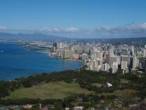 Vista da cabeça do diamante em Havaí imagens de stock