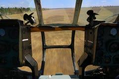 Vista da cabina do piloto do helicóptero Foto de Stock