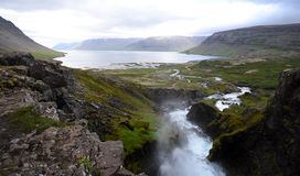 Vista da cachoeira de Dynjandi fotografia de stock