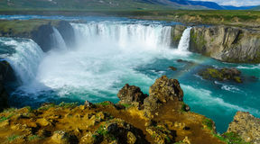 Vista da cachoeira de Godafoss Fotografia de Stock Royalty Free